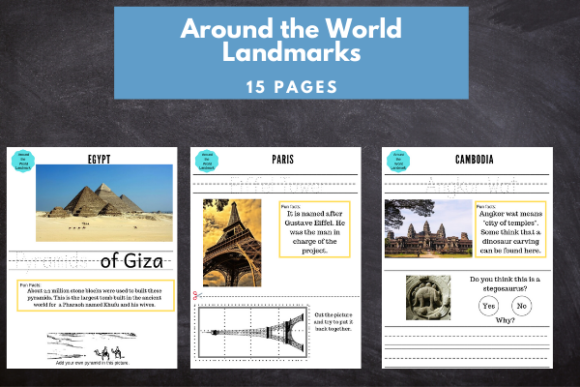 Around the World Landmarks Graphic 1st grade By lifeandhomeschooling