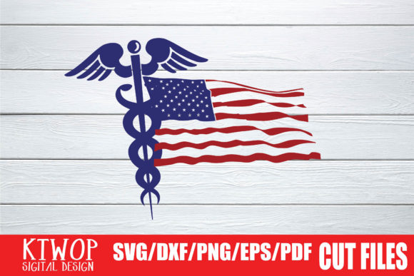 Download Free Caduceus Usa Flag 2020 Graphic By Ktwop Creative Fabrica for Cricut Explore, Silhouette and other cutting machines.