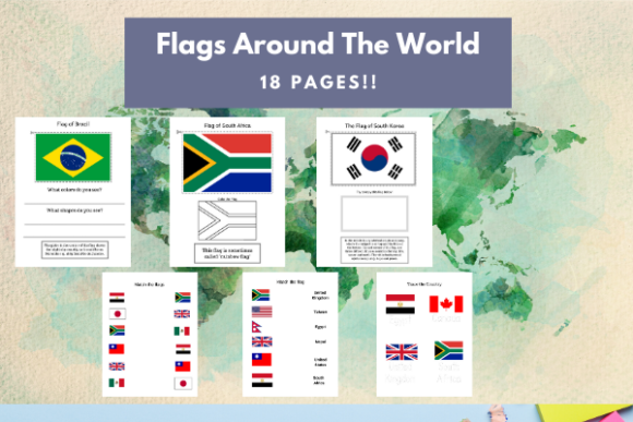 Flags Around the World Graphic PreK By lifeandhomeschooling