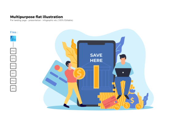 Download Free Flat Illustration Mobile Banking Graphic By Rivatxfz Creative for Cricut Explore, Silhouette and other cutting machines.