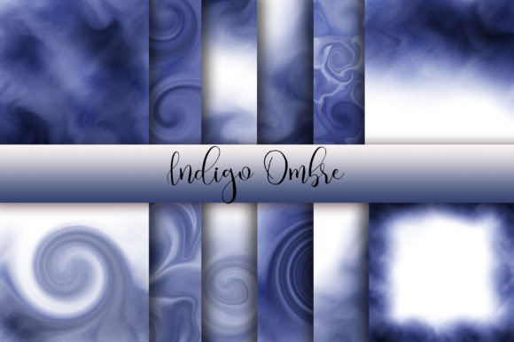 Indigo Ombre Watercolor Background Graphic Backgrounds By PinkPearly