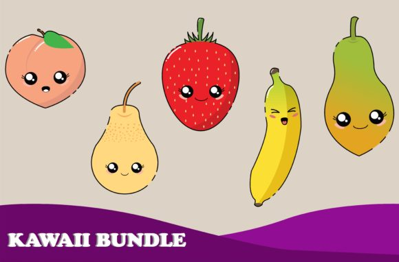 Download Free Kawaii Cute Fruit Illustration Character Graphic By Purplebubble for Cricut Explore, Silhouette and other cutting machines.
