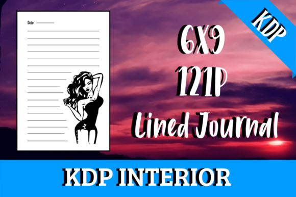 Download Free Lined Journal With Woman Kdp Interior Graphic By Hungry Puppy for Cricut Explore, Silhouette and other cutting machines.