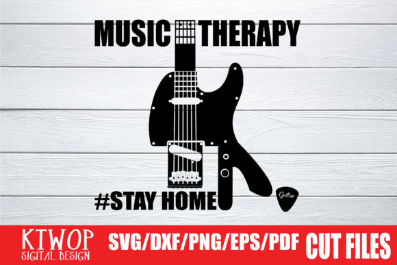 Download Free Music Therapy Guitar Stay Home 2020 Graphic By Ktwop for Cricut Explore, Silhouette and other cutting machines.