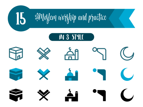 Moslem Worship and Practice Graphic Icons By Asyan Design
