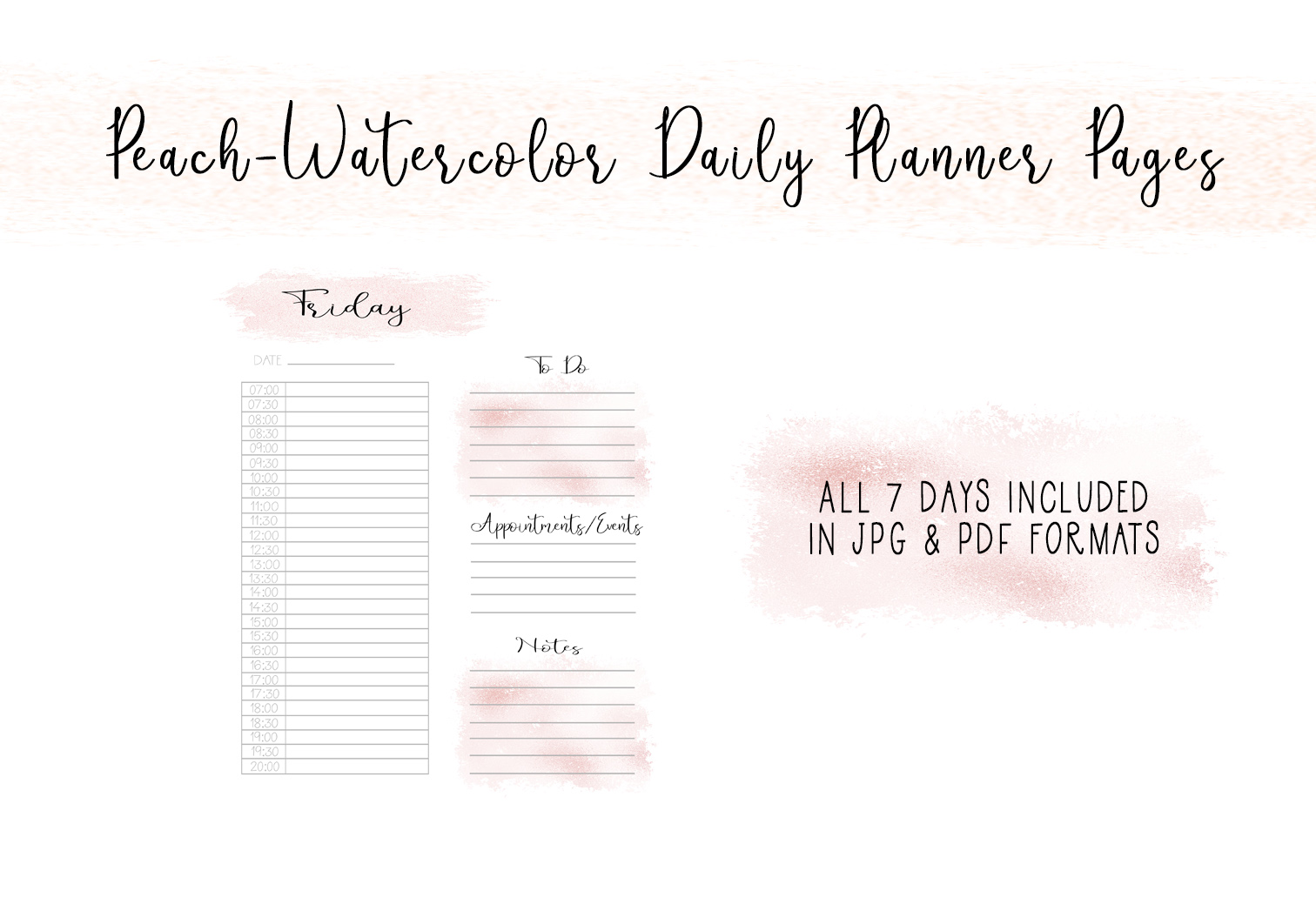 Download Free Peach Watercolor Daily Planner Pages Graphic By Capeairforce for Cricut Explore, Silhouette and other cutting machines.