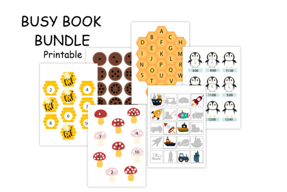 Printable Busy Book, Quiet Book Graphic Print Templates By Igraphic Studio