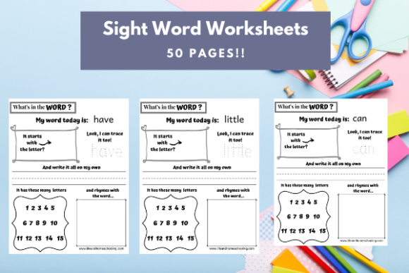 Download Free Sight Word Worksheets Graphic By Lifeandhomeschooling Creative for Cricut Explore, Silhouette and other cutting machines.