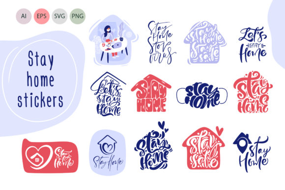 Download Free Stay Home Stickers Quarantine Concepts Graphic By Happy for Cricut Explore, Silhouette and other cutting machines.