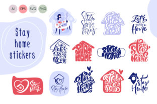 Stay Home Stickers - Quarantine Concepts Graphic Objects By Happy Letters