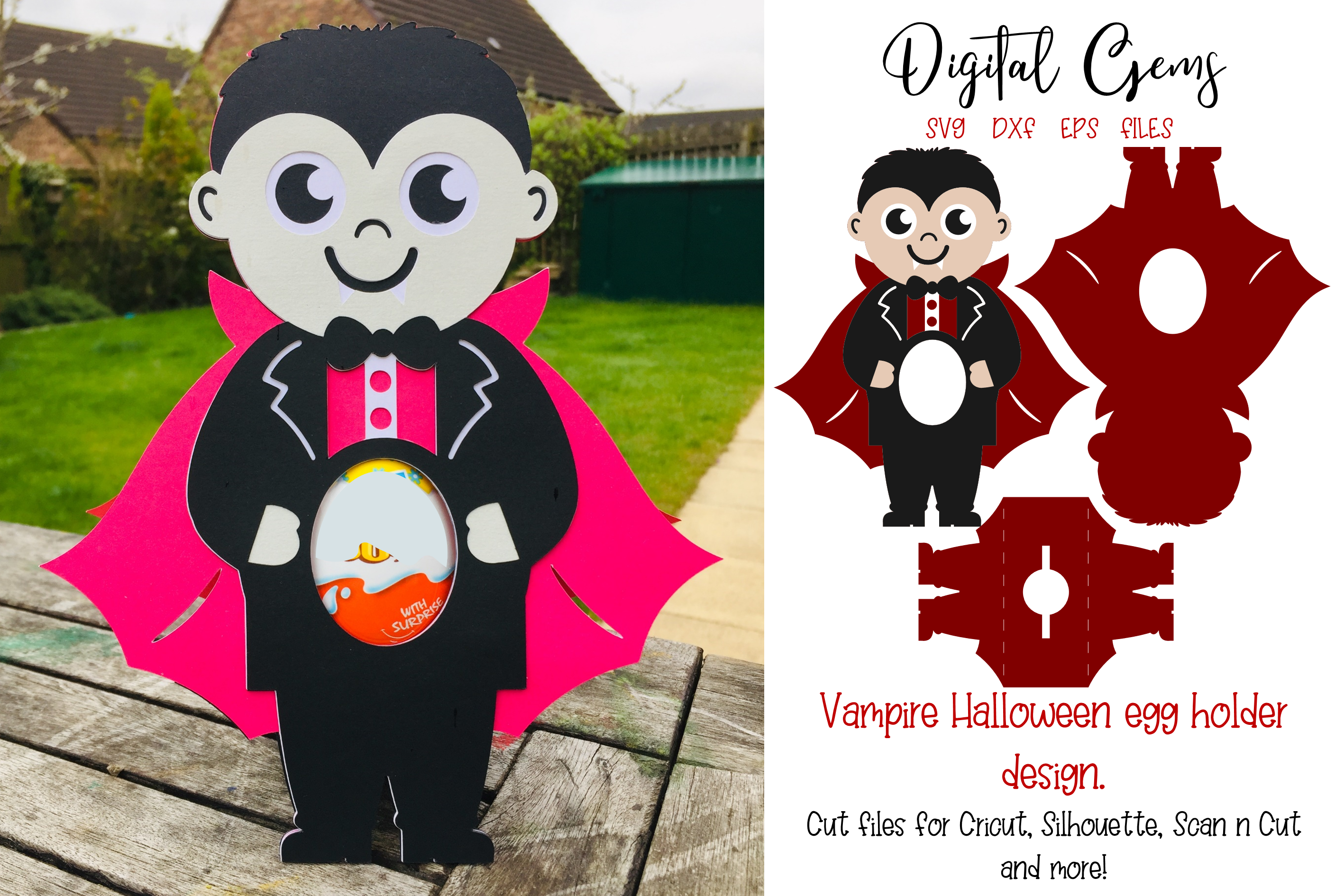 Download Free Vampire Egg Holder Design Graphic By Digital Gems Creative Fabrica for Cricut Explore, Silhouette and other cutting machines.