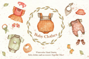 Print on Demand: Watercolor Baby Clothes Collection Graphic Illustrations By tanatadesign