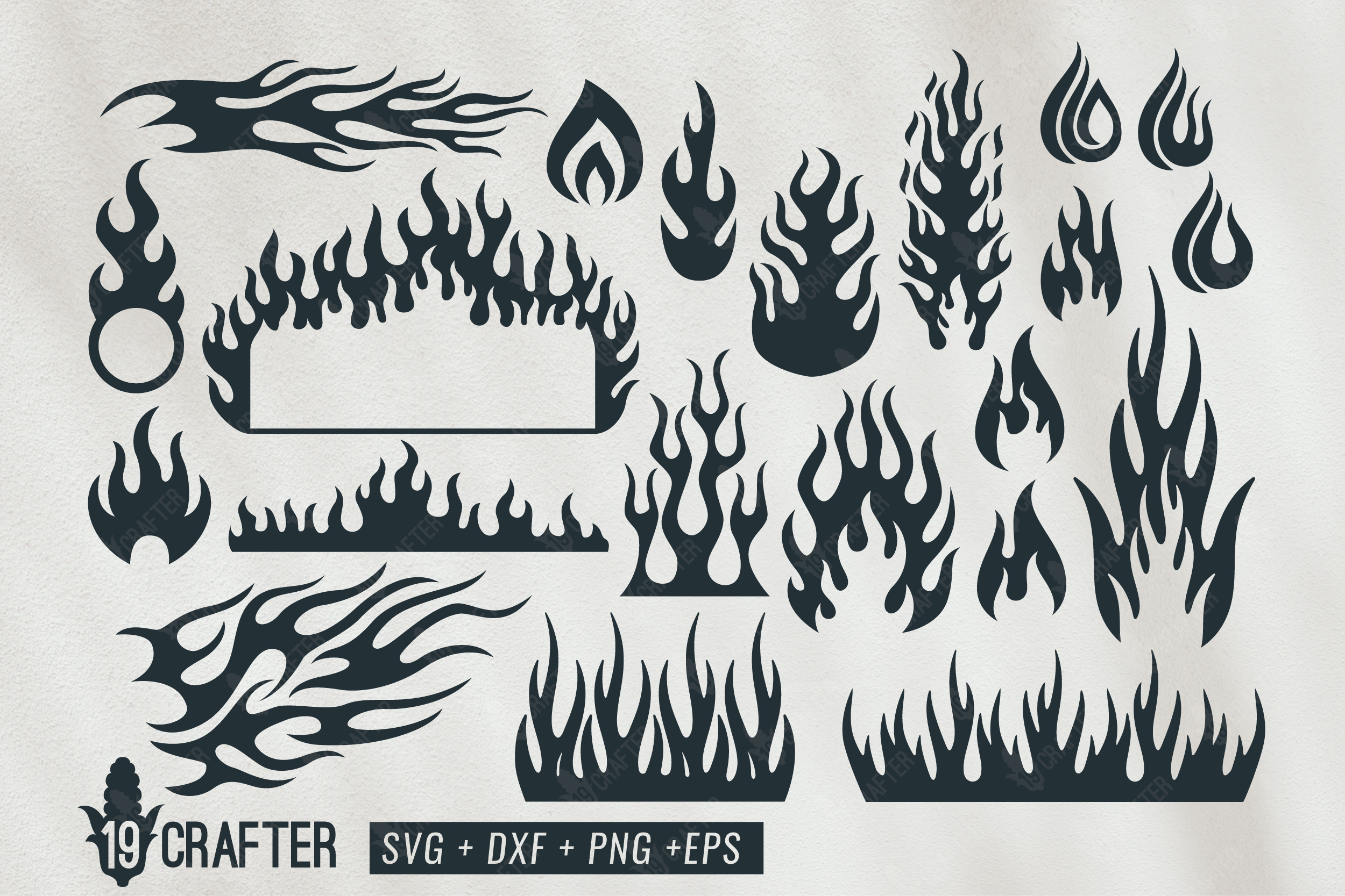 Download Free Fire Flame And Fire Tribal Svg Bundle Graphic By Great19 for Cricut Explore, Silhouette and other cutting machines.