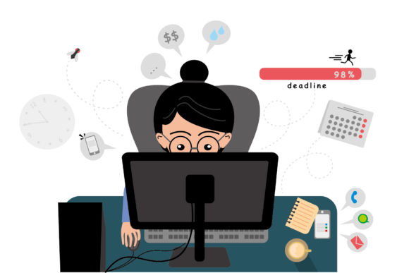 Woman Working Illustration Concept Graphic Illustrations By ABs