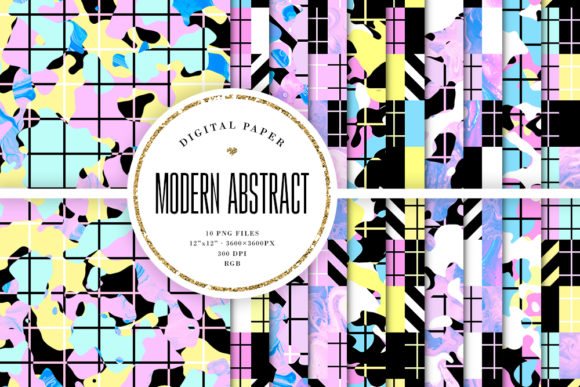 Print on Demand: Abstract Modern Trendy Backgrounds Graphic Backgrounds By Sabina Leja
