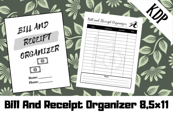 Print on Demand: Bill and Receipt Organizer KDP Interior Graphic KDP Interiors By Hungry Puppy Studio