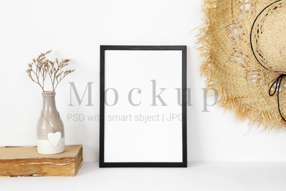 Print on Demand: Black Frame Mockup with Beige Vase Graphic Product Mockups By PawMockup