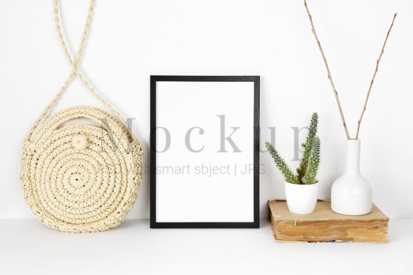 Print on Demand: Black Photo Frame Mockup with Cactus Graphic Product Mockups By PawMockup
