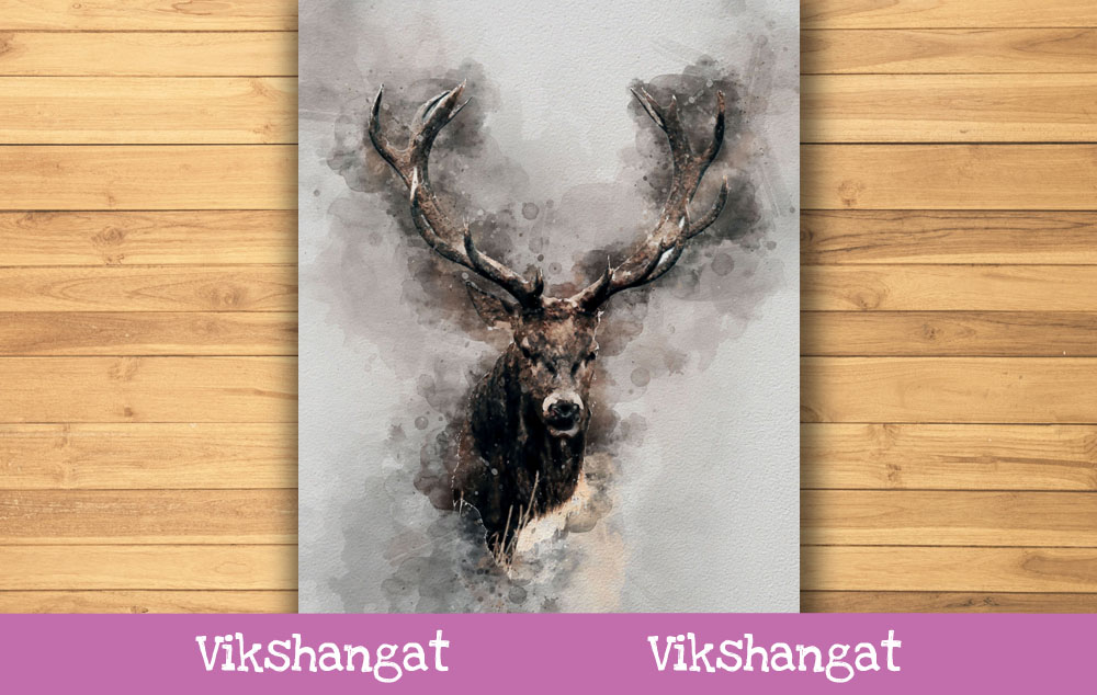 Download Free Deer Watercolor Art Graphic By Vikshangat Creative Fabrica for Cricut Explore, Silhouette and other cutting machines.