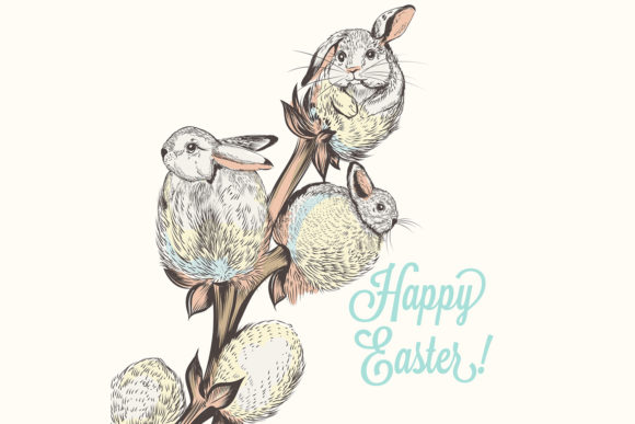 Download Free Easter Card Hand Drawn Vector Rabbits Graphic By Fleurartmariia for Cricut Explore, Silhouette and other cutting machines.