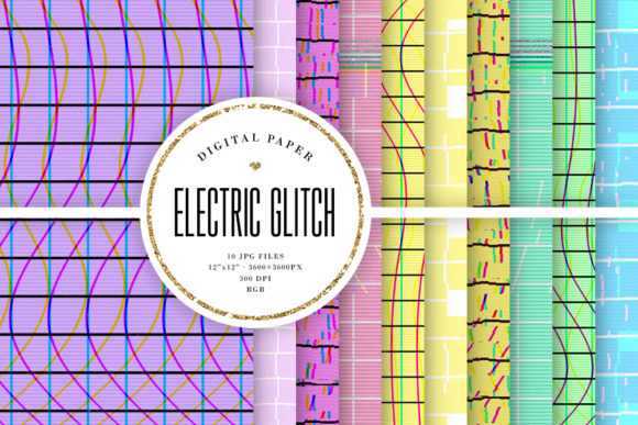 Print on Demand: Electric Glitch Backgrounds Graphic Backgrounds By Sabina Leja - Image 1