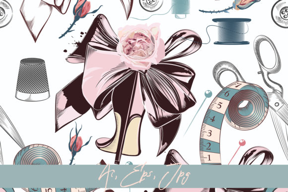 Fashion Vector Pattern with Sewed Things Graphic Patterns By fleurartmariia - Image 1