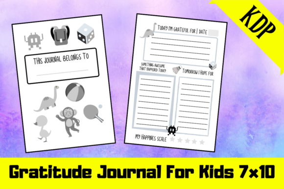 Print on Demand: Gratitude Journal for Kids KDP Interior Graphic KDP Interiors By Hungry Puppy Studio