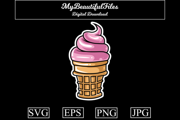 Download Free Ice Cream Graphic By Mybeautifulfiles Creative Fabrica for Cricut Explore, Silhouette and other cutting machines.