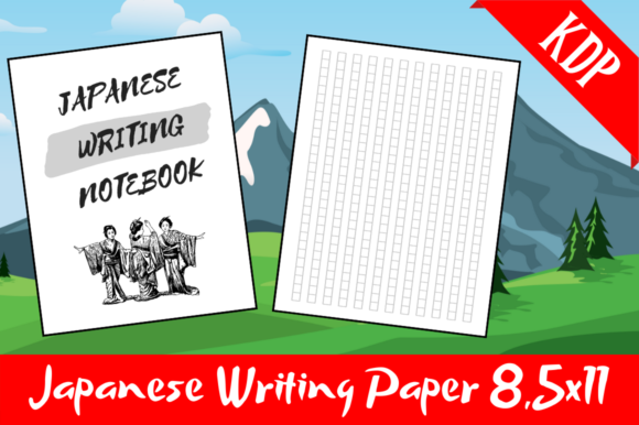 Download Free Japanese Writing Notebook Kdp Interior Graphic By Hungry Puppy for Cricut Explore, Silhouette and other cutting machines.