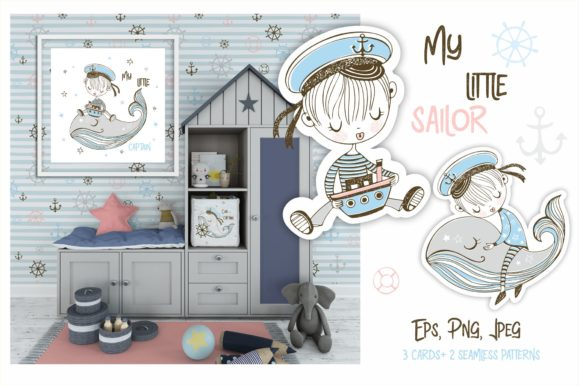 Download Free My Little Sailor Graphic By Grigaola Creative Fabrica for Cricut Explore, Silhouette and other cutting machines.