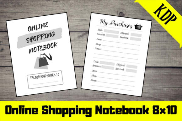 Download Free Online Shopping Notebook Kdp Interior Graphic By Hungry Puppy for Cricut Explore, Silhouette and other cutting machines.