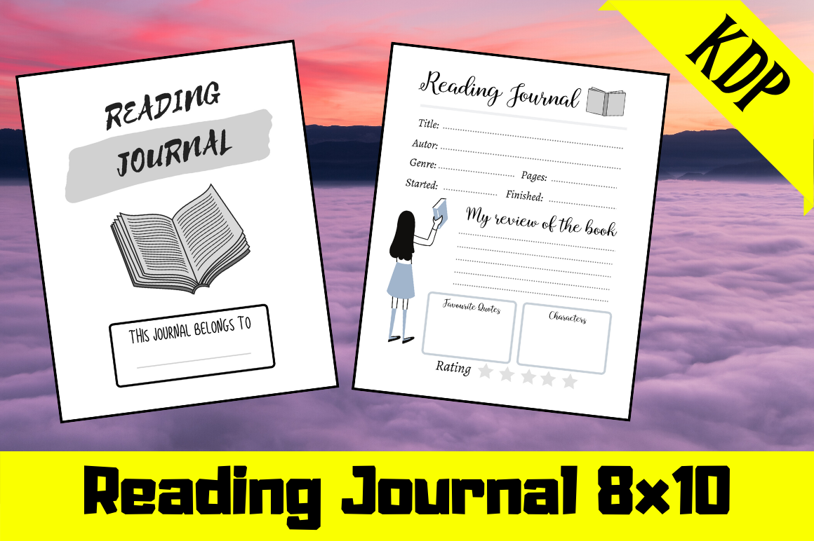 Download Free Reading Journal Kdp Interior Graphic By Hungry Puppy Studio for Cricut Explore, Silhouette and other cutting machines.
