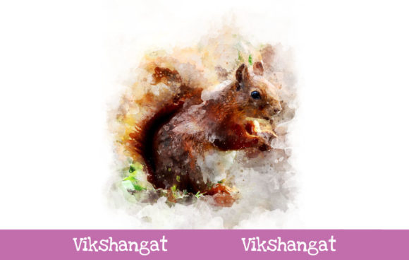 Print on Demand: Squirrel Watercolor Art Graphic Illustrations By vikshangat