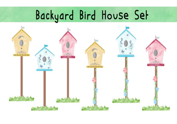 Print on Demand: Watercolor Backyard Bird House Set Graphic Illustrations By CapeAirForce