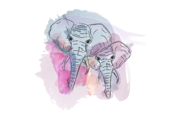 Watercolor Elephant Illustrations Graphic Illustrations By Rimbu Creative