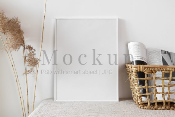 Print on Demand: White Photo Frame with Straw Basket Graphic Product Mockups By PawMockup