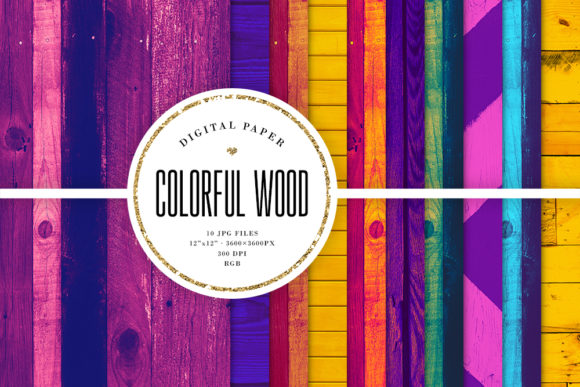 Print on Demand: Wood Textures, Colorful Wood Backgrounds Graphic Textures By Sabina Leja