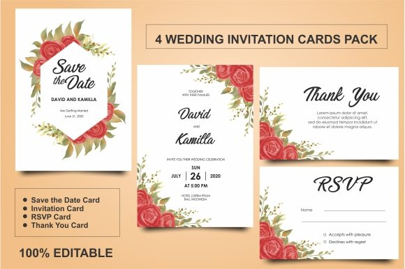 Download Free Wedding Invitation Templates With Beautiful Flower Frames Graphic for Cricut Explore, Silhouette and other cutting machines.