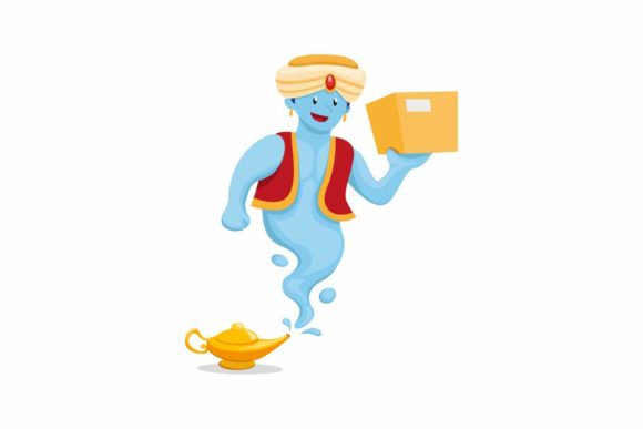 Print on Demand: Genie with Magic Lamp Carrying Package Graphic Illustrations By aryo.hadi