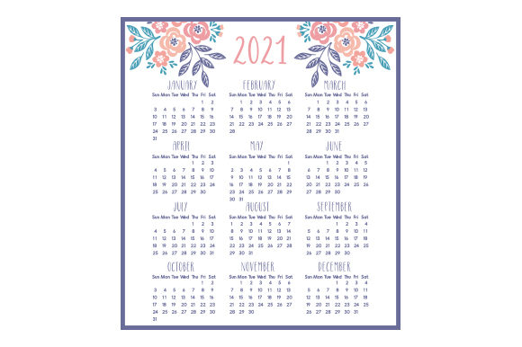 Download Free 2021 Mini Calendar Svg Cut File By Creative Fabrica Crafts for Cricut Explore, Silhouette and other cutting machines.