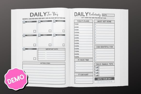 Print on Demand: 3 Month Daily Productivity Planner | KDP Graphic KDP Interiors By InteriorTastic - Image 2