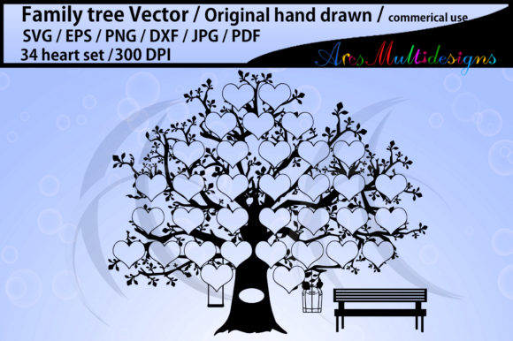 Download Free 34 Hearts Family Tree Template Graphic By Arcs Multidesigns Creative Fabrica for Cricut Explore, Silhouette and other cutting machines.