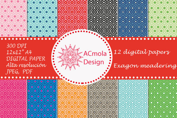 Print on Demand: Meandering Hexagon Pattern 2 Graphic Patterns By Ana Carmen Modrego Lacal