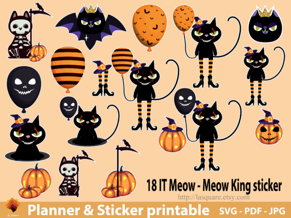 Download Free A5 Planner Printable It Meow King Cat Grafico Por Lasquare Info for Cricut Explore, Silhouette and other cutting machines.