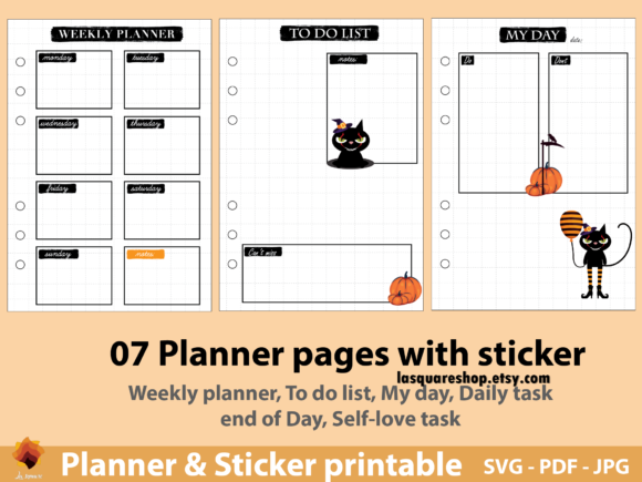Download Free A5 Planner Printable It Meow King Cat Graphic By Lasquare Info for Cricut Explore, Silhouette and other cutting machines.