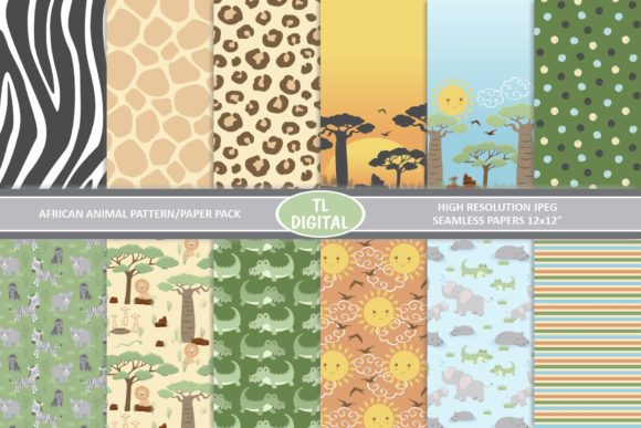 African Animals and Prints - 12 Seamless Graphic Patterns By TL Digital