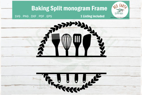 Download Free 6 Baking Monogram Svg Designs Graphics for Cricut Explore, Silhouette and other cutting machines.