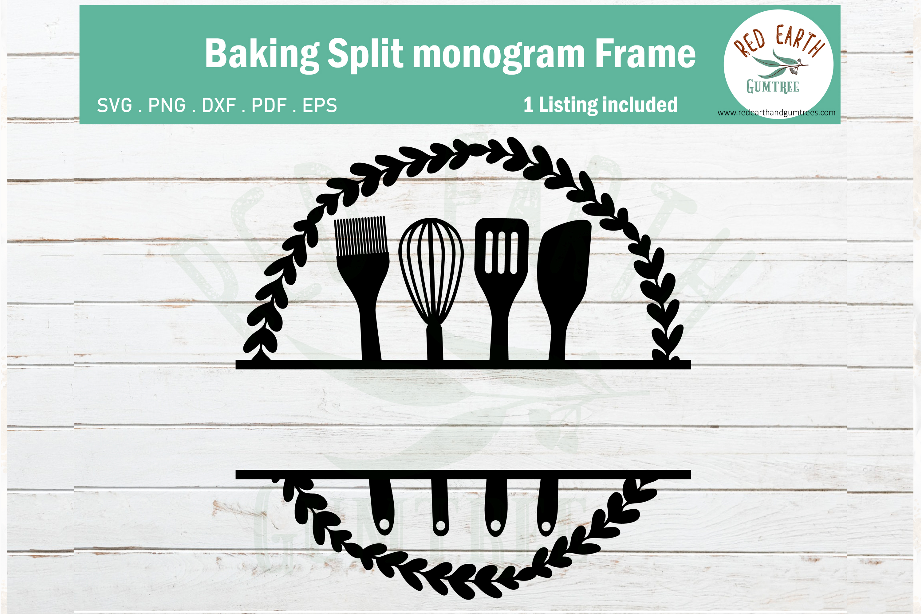 Baking Split Monogram Frame Svg Kitchen Graphic By Redearth And