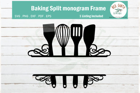 Baking Split Monogram Frame Svg,kitchen Graphic Crafts By redearth and gumtrees - Image 1