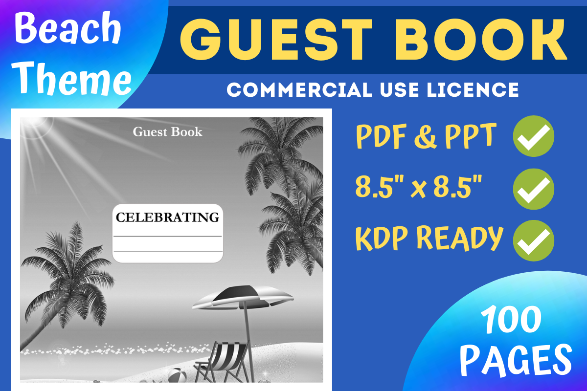Beach Theme Guest Book Kdp Interior Graphic By Mastery